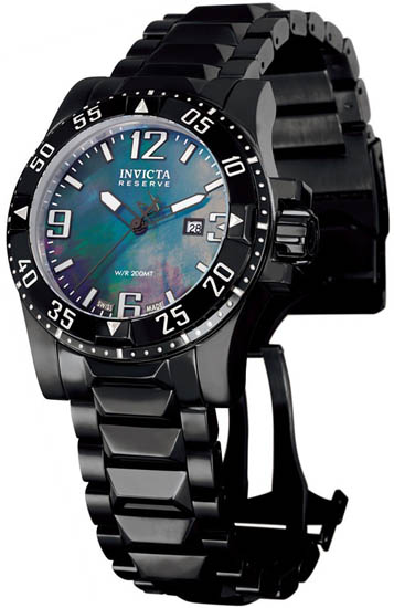 Invicta Black Stainless Steel Reserve Diver Swiss Quartz Mother Of Pearl 516