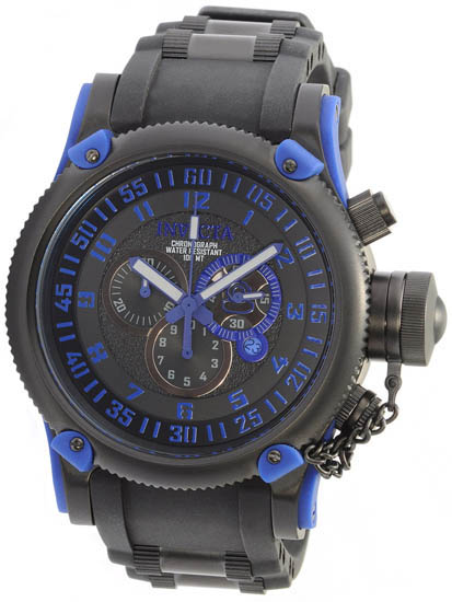 Invicta Black Stainless Steel Russian DIver Swiss Quartz Rubber Strap Blue 518