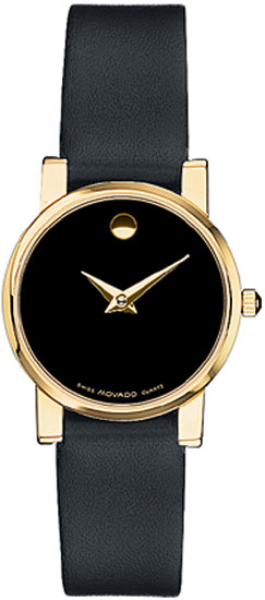 Movado Polished Gold Tone Stainless Steel Moderna Black Leather Strap 604229