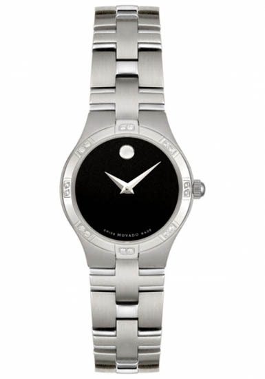 Movado Juro Black Dial Stainless Steel Diamonds 605032