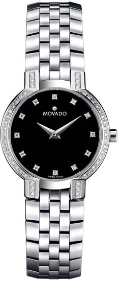 Movado Faceto Stainless Steel Diamonds 605586