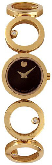 Movado Ono Womens Gold Tone Stainless Steel Black Dial 605821