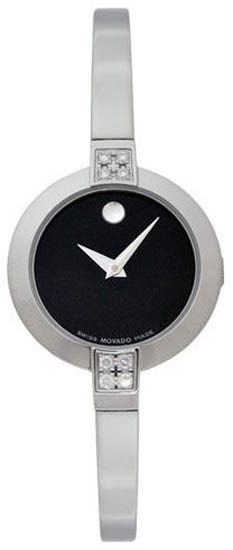 Movado Bela Stainless Steel Black Dial Diamonds 605855