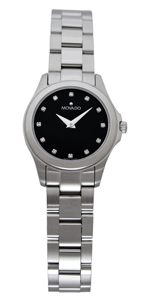 Movado Junior Sport Women Black Dial Stainless Steel Diamonds 605963