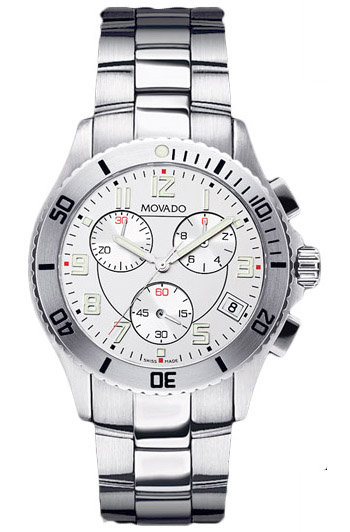 Movado Junior Sport Mens Stainless Steel White Dial Chronograph 605969