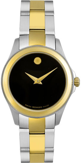 Movado Junior Sport Two Tone Black Museum Dial 605988