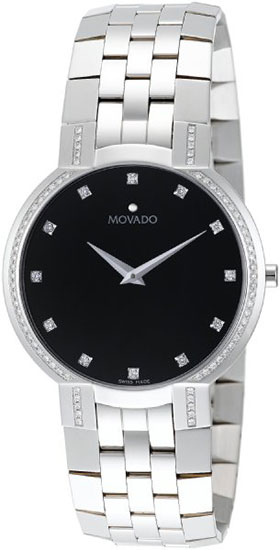Movado Faceto Black Dial Stainless Steel Diamonds 606237