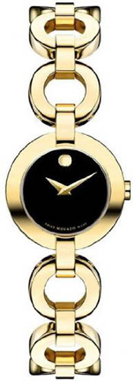 Movado Gold Tone Stainless Steel Bela Bangle Style Black Dial 606262