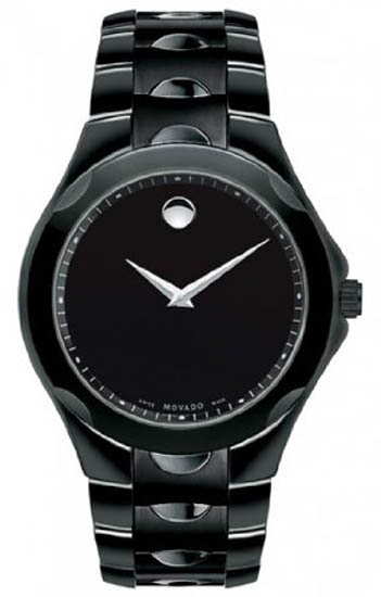 Movado Black Stainless Steel Quartz Black Dial Silver Hands 606536