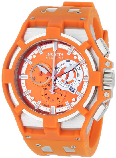 Invicta Stainless Steel Reserve Chronograph Swiss Quartz Orange Strap 635