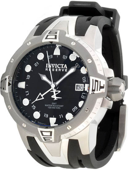 Invicta Stainless Steel Reserve GMT Swiss Quartz Black Dial Strap 651