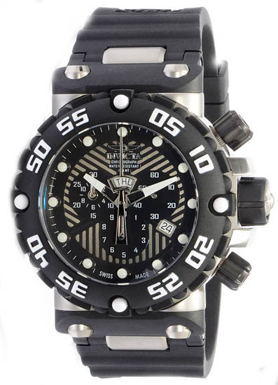 Invicta Nitro Swiss Quartz Chronograph Black Dial Strap 653