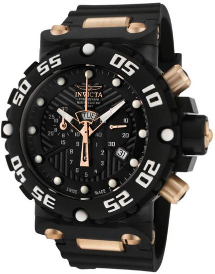 Invicta Two Tone Nitro Swiss Quartz Chronograph Black Dial Strap 655