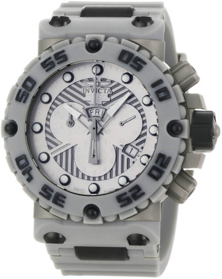 Invicta Nitro Swiss Quartz Chronograph Silver Tone Dial Gray Strap 657