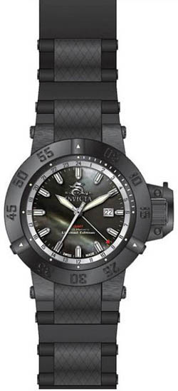 Invicta Black Subaqua GMT 500M Diver Black Mother Of Pearl Dial Strap 736