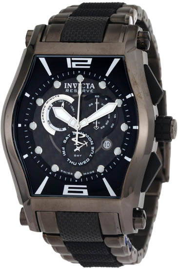 Invicta Gunmetal Reserve Swiss Quartz Chronograph Rubber Link Stripe 746