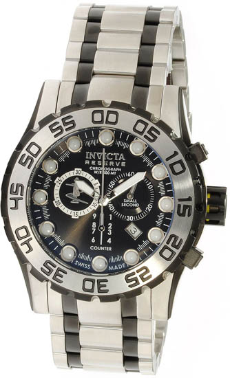 Invicta Stainless Steel Leviathan Chronograph Diver Black Dial 814