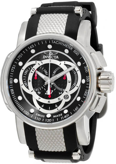 Invicta Stainless Steel S1 Quartz Chronograph Black Dial Rubber Strap 893