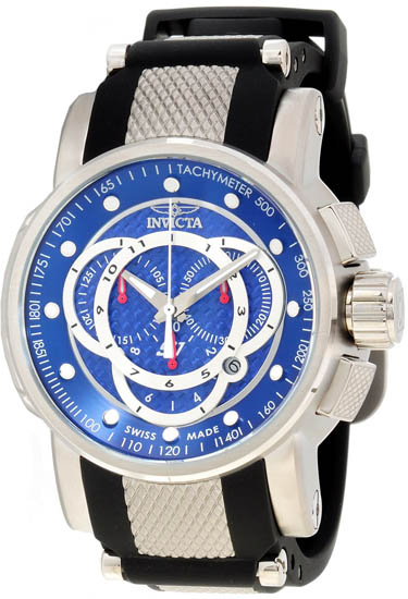 Invicta Stainless Steel S1 Quartz Chronograph Blue Dial Rubber Strap 894