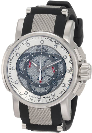 Invicta Stainless Steel S1 Quartz Chronograph Silver Tone Dial Black Strap 895