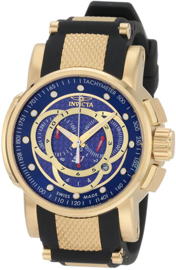 Invicta Gold Tone S1 Quartz Chronograph Strap Blue Dial Black Strap 897