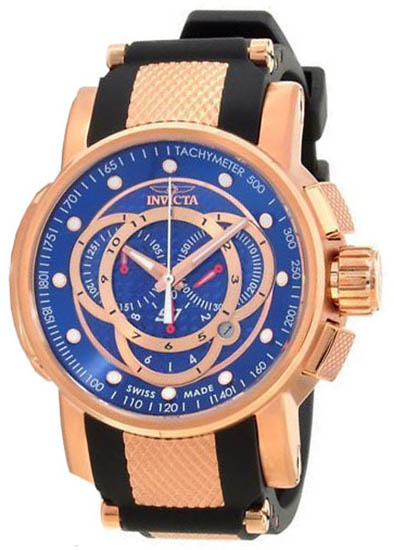 Invicta Rose Gold Tone S1 Quartz Chronograph Blue Dial Black Strap 901