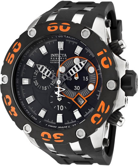 Invicta Reserve Diver Chronograph Swiss Quartz Black Dial Strap Orange 905