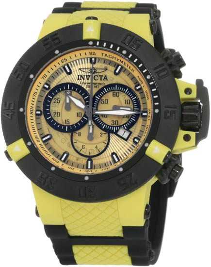 Invicta Black Strap Bezel Subaqua Quartz Chronograph Diver Yellow 934