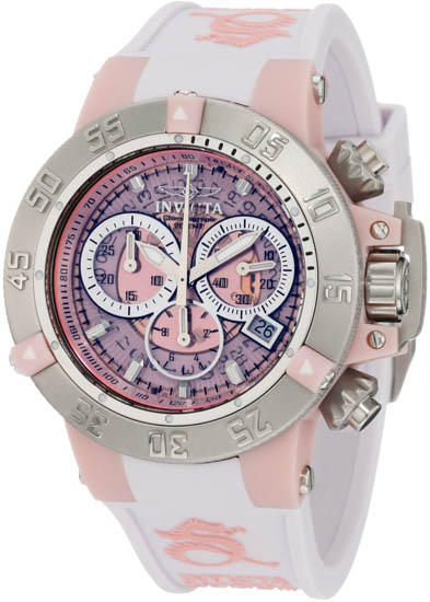 Invicta Stainless Steel Case Anatomic Subaqua Quartz Chronograph Diver Pink 941