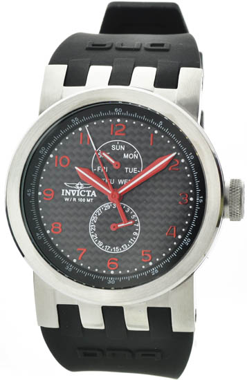 Invicta Stainless Steel Case Red Tone Hands Day Date Black Silicone Strap DNA 10391