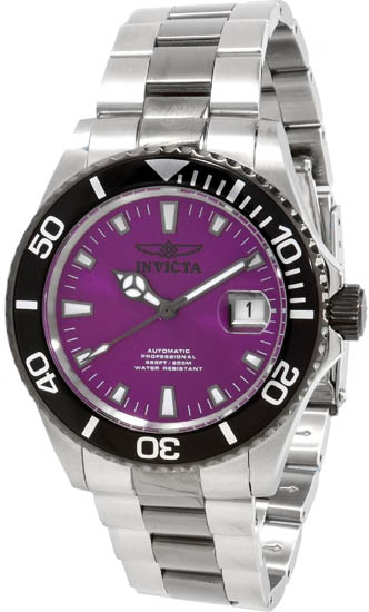 Invicta Stainless Steel Pro Diver Automatic Purple Dial Rotating Black Belzel 10497