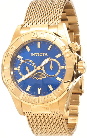 Invicta Gold Tone Stainless Steel Sea Wizard Blue Dial Quartz 10598