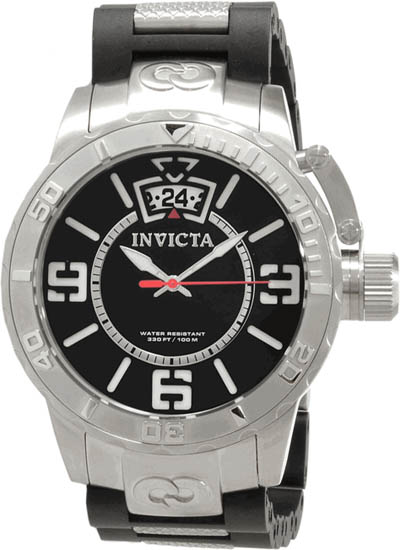 Invicta Corduba Quartz Date Black Dial Stainless Steel Rubber Link 10604