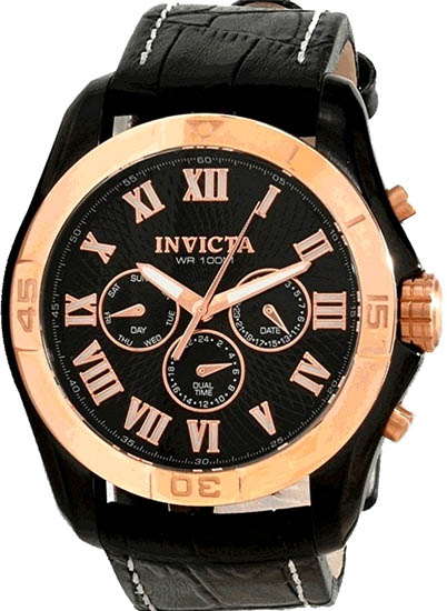 Invicta Stainless Steel Case Gold Bezel Specialty GMT Black Dial Black Leather Strap 10636