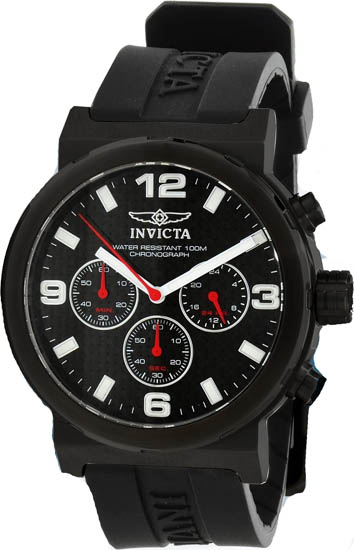 Invicta Stainless Steel Specialty Quartz Chronograph Black Dial Black Rubber Strap 10639