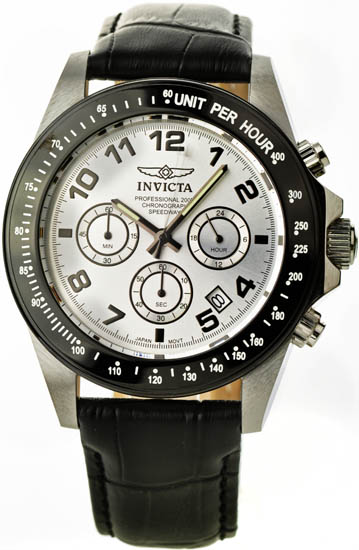 Invicta Stainless Steel Case Speedway Quartz Chronograph Silver Dial Leather 10708