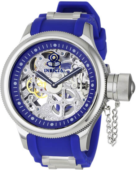 Invicta Russian DIver Skeleton Hand Wind Mechanical Blue Rubber Strap 1089