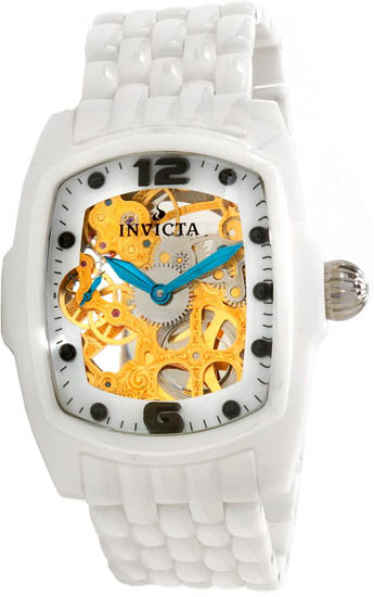 Invicta White Ceramic Lupah Gold Tone Manual Mechanical 1114