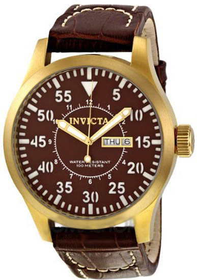 Invicta Gold Tone Stainless Steel Case Quartz Specialty Brown Dial Brown Leather Strap at Sears.com