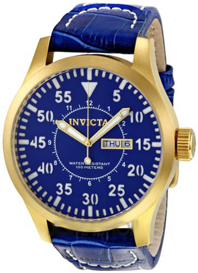Invicta Gold Tone Stainless Steel Case Quartz Specialty Blue Dial Blue Leather Strap 11192