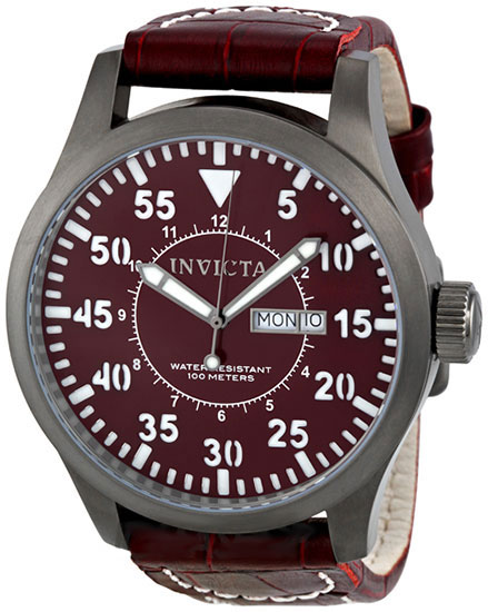 Invicta Gray Tone Stainless Steel Case Quartz Specialty Burgundy Dial Burgundy Leather Strap 11203
