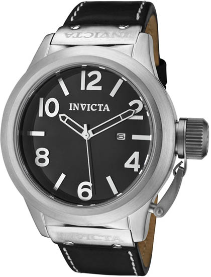 Invicta Corduba Quartz Silver Tone Dial Black Leather Strap 1135