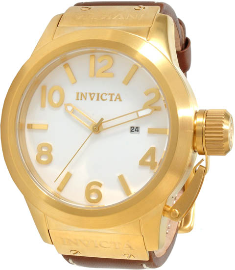 Invicta Gold Tone Corduba Quartz White Dial Leather Strap 1136