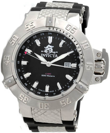 Invicta Stainless Steel Subaqua GMT 500M Diver Black Dial Strap 1151