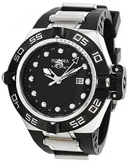 Invicta Stainless Steel Subaqua GMT 500M Diver Black Dial Strap 1153