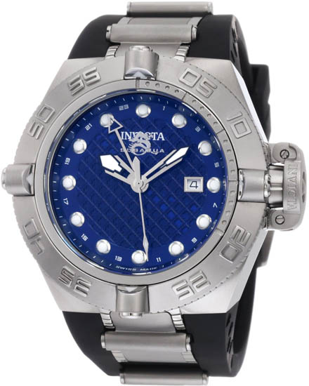 Invicta Stainless Steel Subaqua GMT 500M Diver Blue Dial Black Strap 1155