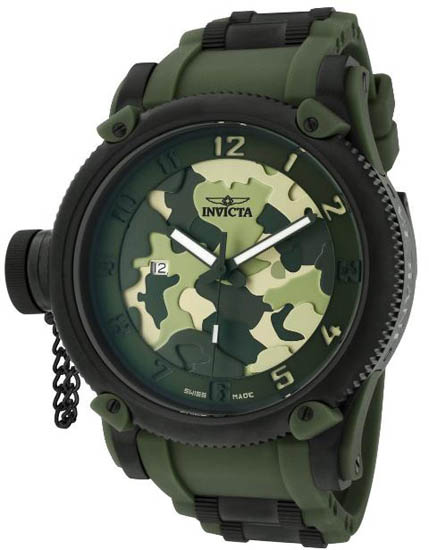 Invicta Russian DIver Special Ops Lefty Swiss Quartz Rubber Strap Green 1197