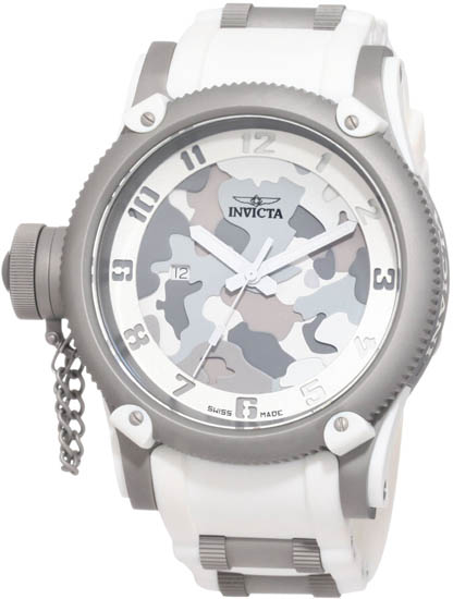 Invicta Russian DIver Special Ops Lefty Swiss Quartz Rubber Strap White 1200
