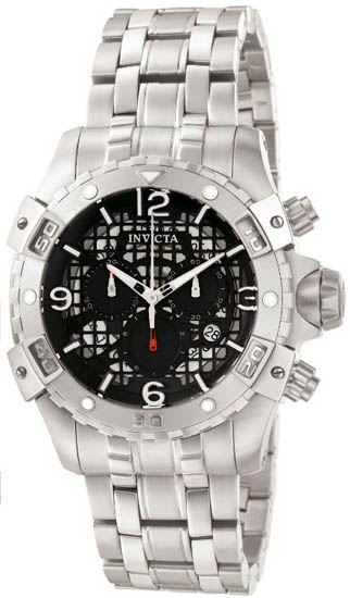 Invicta Stainless Steel Quartz Diver Chronograph Black Dial 1229