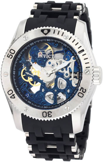Invicta Stainless Steel Sea Spider Mechanical Skeleton Blue Dial 1257